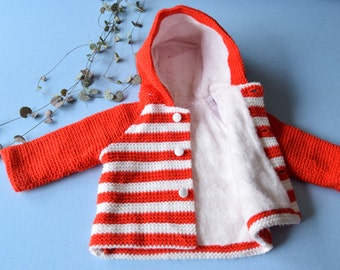 Vintage 70's / baby / hooded Cardigan / knit crylor / Made in France / striped red and white