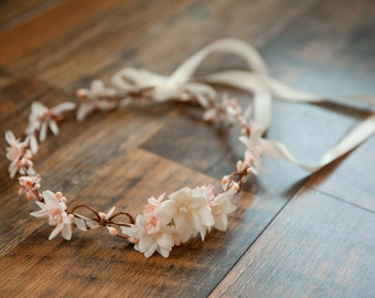 Bride crown,ivory-blush, pearls and ivory crown, ivory floral bridal wreath, blush pink crown, wedding crown, ivory wedding, blush hair halo