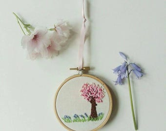 Hand embroidered and  'blossom and bluebells' hoop art