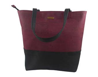 LeKo-design - Cork bag, large shopper Cork fabric, red, black