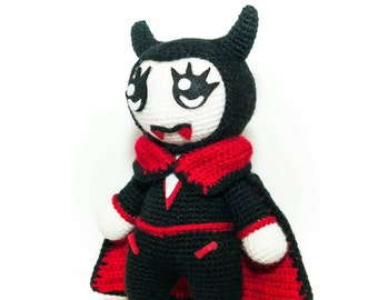 Vampire Kawaii plush Halloween softtoy vampire amigurumi doll, Vampire Kawaii amigurumi doll, amigurumi monster, cute monster