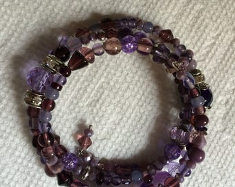 Purple glass memory wire bracelet