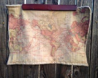 WORLD map blanket - baby minky security blankie - small travel blanky, lovie, lovey, woobie - 12 by 16 inches