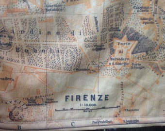 FLORENCE map blanket - antique Italian map baby minky security blankie - Firenze small travel blanky, lovie, lovey, woobie - 13 by 14 inches