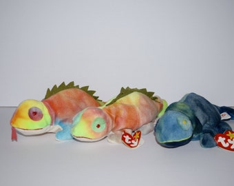 3 TY Beanie Babies Iguana Beanie Baby Stuffed Animal 2 Iggy 1 Rainbow Tie Dye