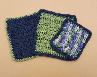 Crochet Cotton Washcloths Blue and Green -Set of 3 Includes 1 Scrubbie