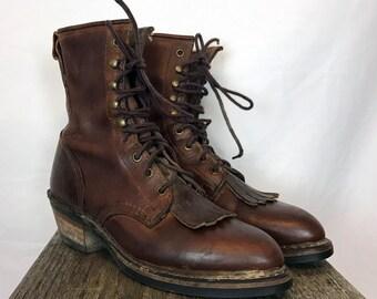 Durango Kiltie Fringe Boots // Vintage // Women's Size 8