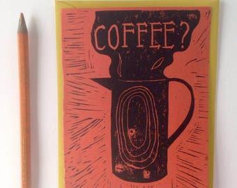 Lino printed card, coffee
