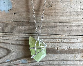 Style wrapped hand green calcite pendant necklace.