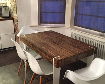 Solid 6 Seater Farmhouse Style Reclaimed Wood Dining Table Handmade Industrial Kitchen Old White