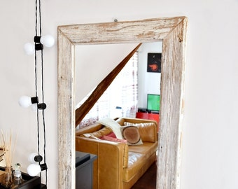 Mirror with frame from old wood French Country Rustic brown  white farmhouse loft  wall decor cottage chic