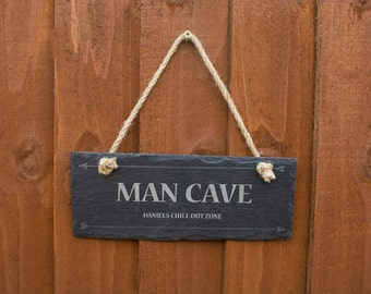 FREE P&P man cave slate hanging sign