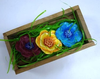 Hand-painted ceramic flowers