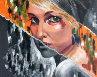 Woman, Modern art, abstract, Acrylic painting on canvas, Giclee print - Revealed