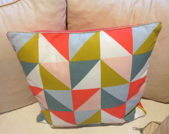 Coral cushion and triangles