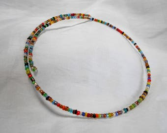Multi Colored Glass Seed Bead Memory Wire Choker
