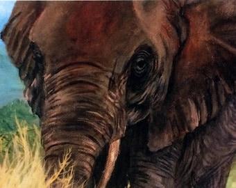 Animal Wildlife Art Print Elephant - 4x6