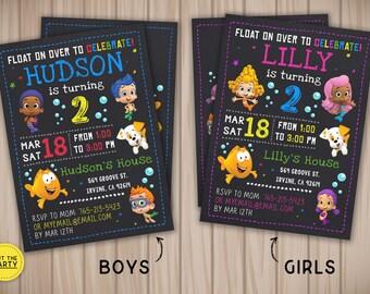 Bubble Guppies invitation, Bubble Guppies birthday invitation, Bubble Guppies chalkboard invitation, Bubble Guppies party invitation