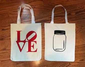 Painted canvas bag (starfish, orange, giraffe, pineapple, mason jar, love)
