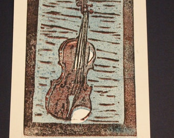 Violin print- reduction block print
