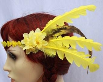 Spring time Yellow Feather Headband Romance Boho Headdress Summer Holiday Festivals