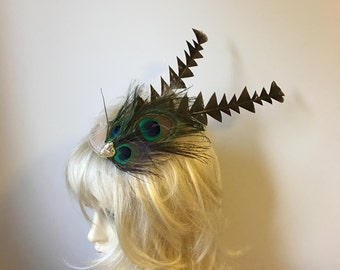 Pale Gold Feather Peacock Fascinator  Headpiece, Boho, Charlestone Downton Abbey Flapper Wedding Guest Ladies Day, Ascot Horse racing