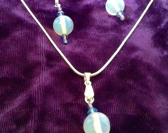 Moonstone sterling silver necklace and earrings set