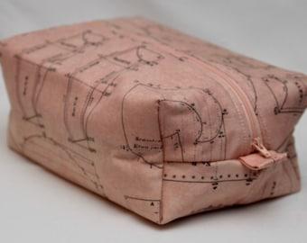 Pink Victorian Sewing Pattern Zip Top Bag