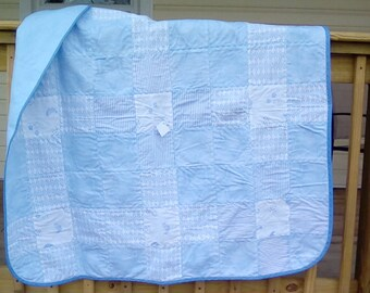 Baby blue patchwork quilt