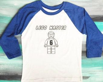 Lego Master shirt, Lego Shirt, Lego Man Shirt, Lego Birthday Shirt, lego raglan shirt, personalized lego shirt
