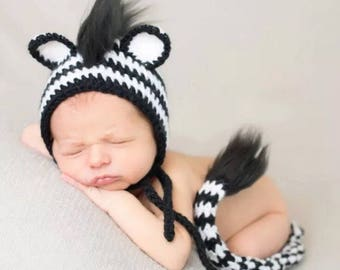 Zebra knit  Baby outfit hand made, knit with love. 2pc hat and tail set
