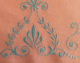 Linen Tea Towel / Pink, Blue Embroidery