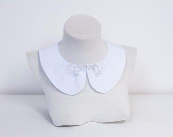 White Peter Pan Collar. Vintage Necklace Collar. Detachable Necklace Collar. Wedding Collar