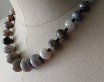 Grey Stone Statement Necklace