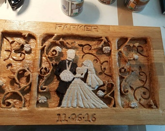 Wedding oak carving