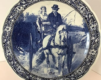 "Vintage Large Blue Delft Charger ""Horse & Carriage"""