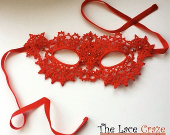 Handmade tatted lace masquerade mask