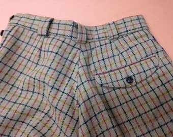 Ladies lined wool trouser UK size 10, side button fastening, back pocket,  tapered leg, Rupert check