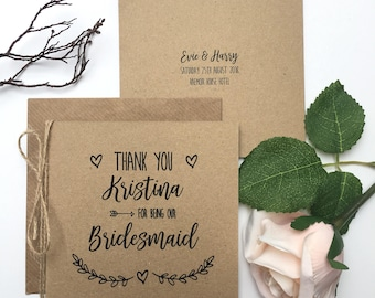Personalised Thank You Bridesmaid Card | Wedding Thank You Card | Best Man | Usher | Rustic Wedding Card | Evie Range