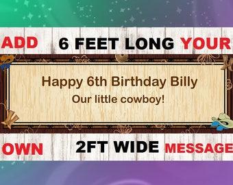 Cowboy banner, Cowboy party, Western Birthday banner, Rodeo Banner, birthday banner