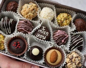 I miss you, Box of 15 mix, Gourmet chocolates, Balls Chocolates, Belgian Chocolate truffles Artisan chocolate Handmade chocolate