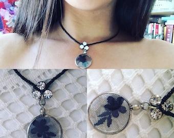 Josephyne Black Lace and rhinestones collar