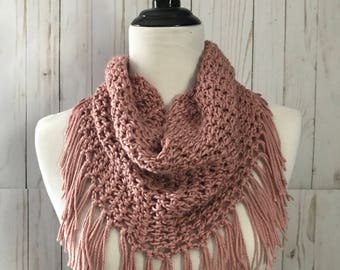 Crochet infinity scarf, Crochet Scarf, Cowl scarf, Infinity scarf, Women's scarf, Adult scarf, Crochet fringe scarf, Gift for her