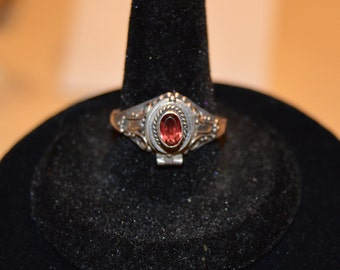 Vintage 925 Sterling Silver Ring Amethyst Size 8 jewelry @@~