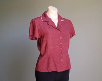 Swing dancing shirt Sweet vintage 1970s maroon polka dot short sleeve women's blouse