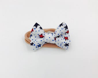 Patriotic Baby girl bow Headbands - baby bow - infant bows - toddler bows - nylon headbands - bow clips - red / white / blue / stars