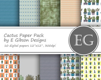 Cactus Digital Paper Pack