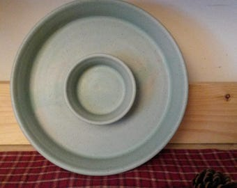 Icy turquoise chip and dip platter,  pottery chip and dip,  pottery platter, chip and salsa platter,  chip platter
