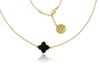 Very thin plated chain gold black clover necklace
