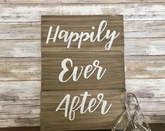 """Customized Rustic Wooden Love Sign """"Happily Ever After"""" Disney Wedding Sign"""